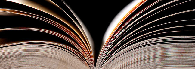 Side view of an open book