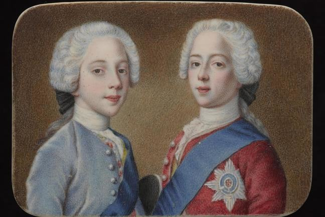 Double portrait of Princes Charles Edward on the right and Henry Benedict Stuart, left as young boys, both wearing white curled wigs, Henry in blue jacket with sash, Charles in red jacket, blue sash and Order of St George badge
