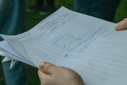 Hands holding a continuity script