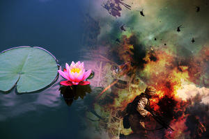 Buddhism symbol the lotus flower, alongside a war zone scene