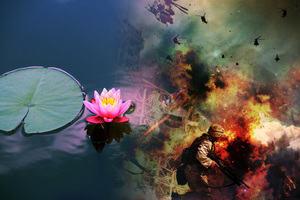 Buddhism symbol the lotus flower, alongside a war zone scene