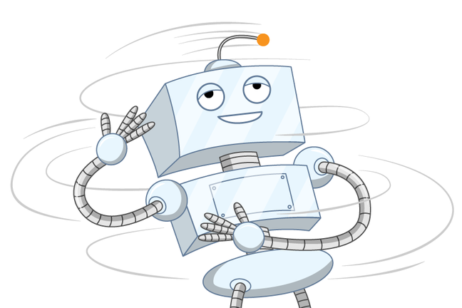 A cartoon illustration of a robot spinning around