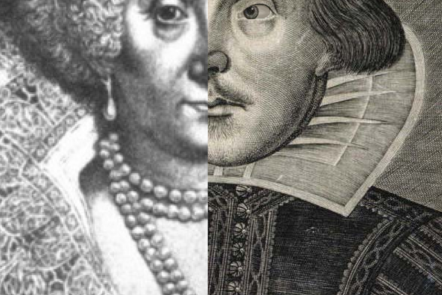 A picture showing half of Shakespeare's portait and half Mary Sidney Herbert's