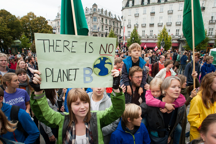 Climate Protest - One banner reads 'There is no Planet B'
