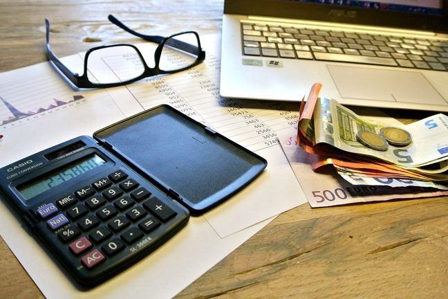 Calculator and Euros on desk