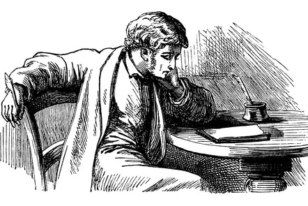 An illustration of a Victorian writer thinking at its table