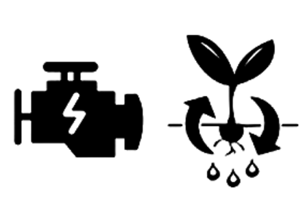 One icon of an engine failure light, and one icon of a plant cycle.