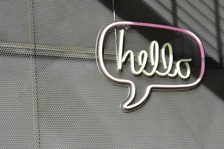 Hello sign on a wall