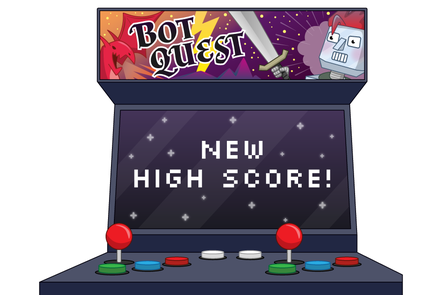Old school arcade game showing a 'New High Score!' on the screen