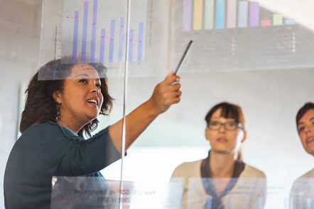Lady pointing to clear board with diagrams
