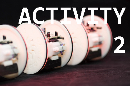 Multiple Eric robots  with 'Activity 2' written over the top.