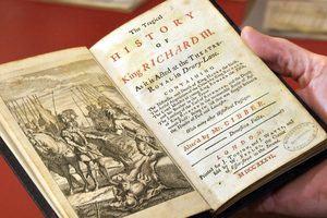 Professor Jonathan Bate holding reference to William Shakespeare's Richard III
