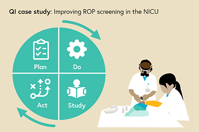 Illustration of the Plan-Do-Study-Act cycle beside an ROP screening being carried out