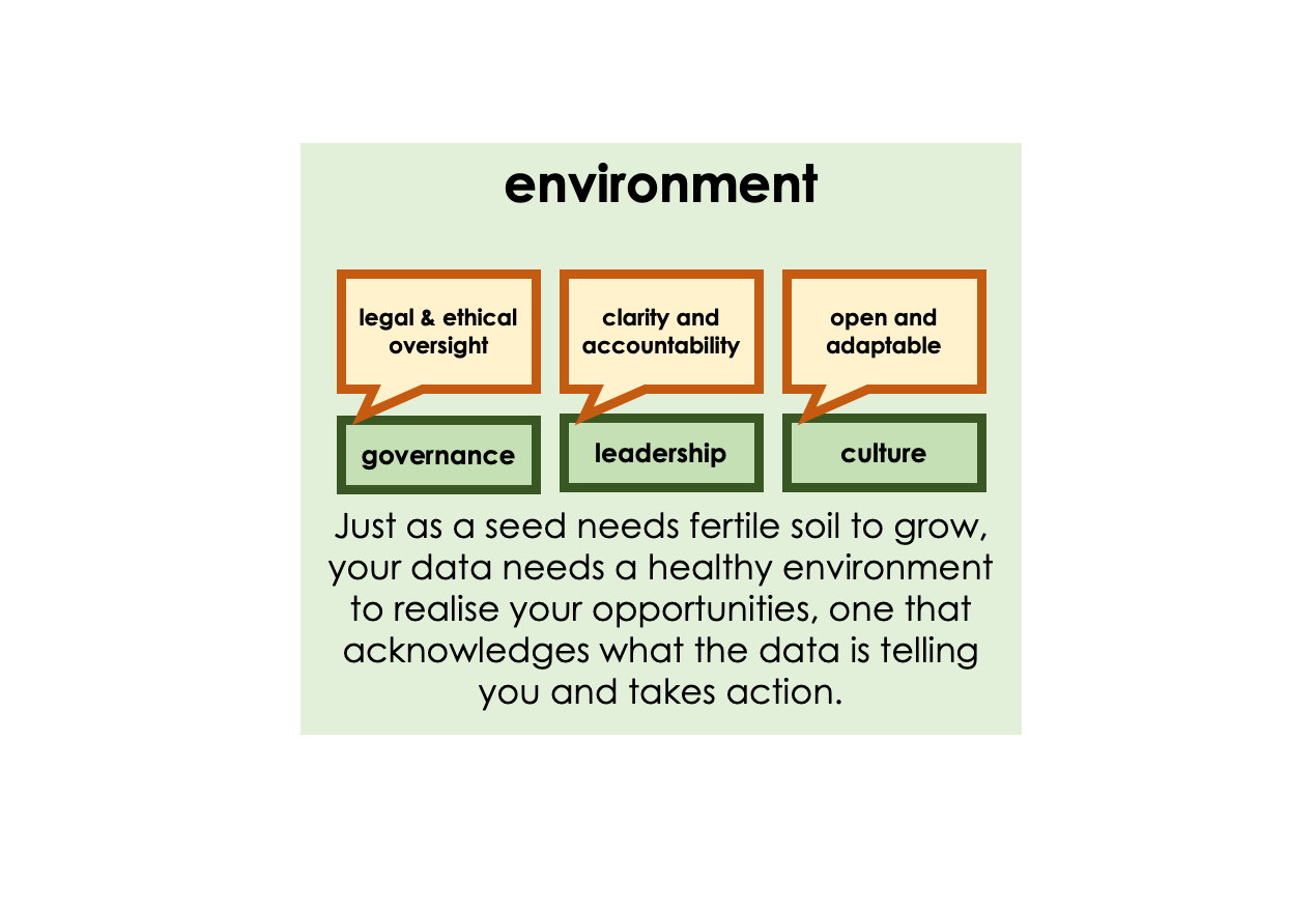 Image representing environmental factors - governance (legal and ethical oversight), Leadership (clarity and accountability) and culture (open and adaptable).r