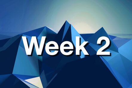"""Within Blue mountain with """"week 2"""" written on it."""