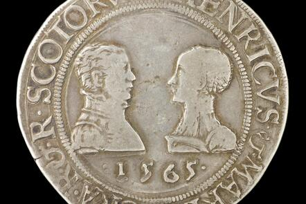 Coin with Mary Queen of Scots and Lord Darnley