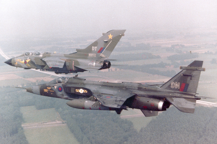 A Tornado and a Jaguar in all-over camouflage livery, for low-level flying in a European environment.