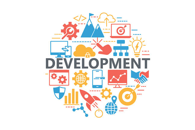Infographic with elements of development depicted.
