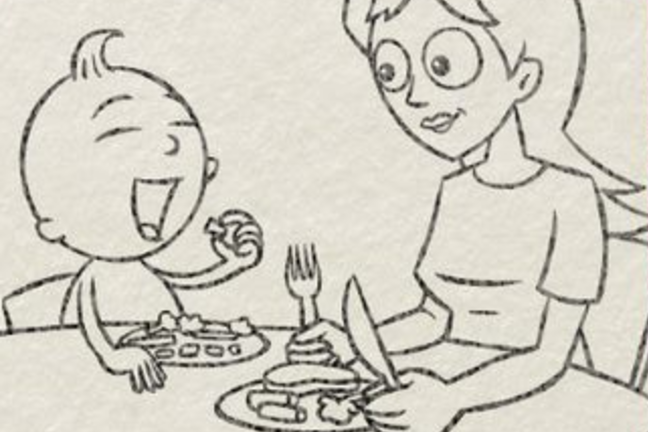 Illustration of parent sharing meal with baby at the family table.
