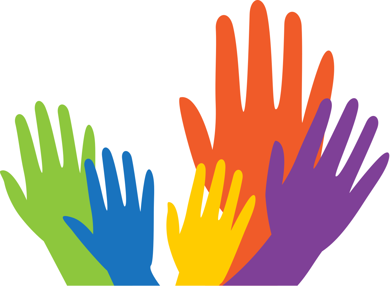 Silhouetted hands raised in different colours
