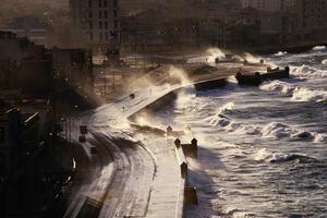 A stormy highway in Havana, Cuba