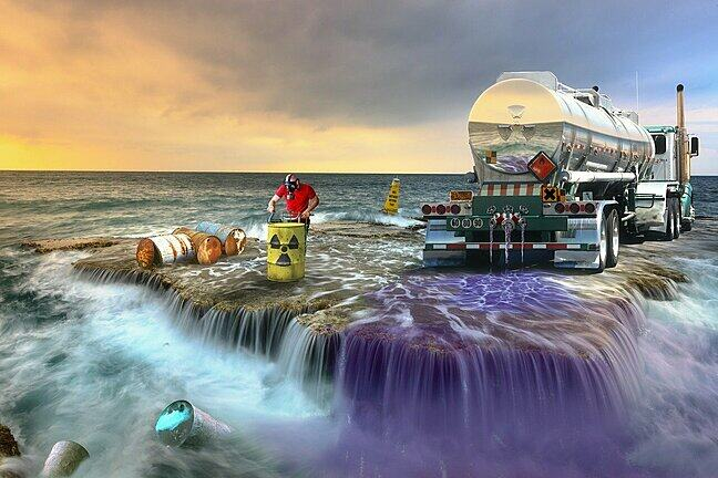 This image shows hazardous chemicals being emitted into the ocean.
