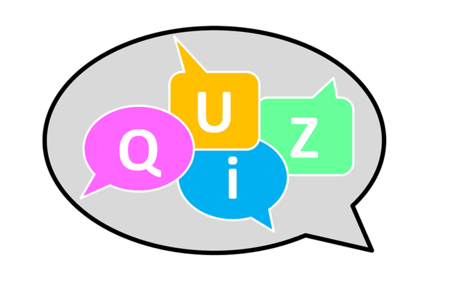 Multicoloured letters reading 'quiz' inside a speech bubble
