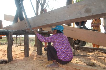 Sawing teak timber