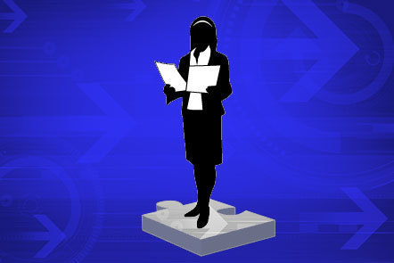 Illustration of silhouetted female business woman
