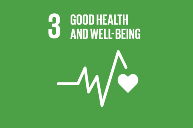 A green background with SDG 3: Good Health and Well-Being in text, with a heartbeat icon in white.