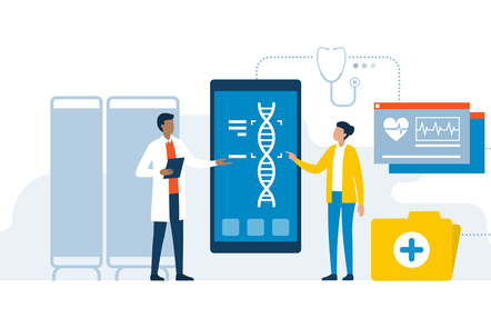A vector image with a doctor and a patient using medical apps for diagnostics and making DNA test to detect diseases.