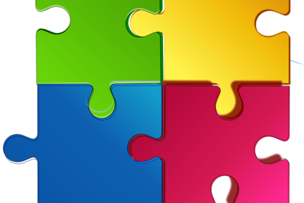 Colourful puzzle put together