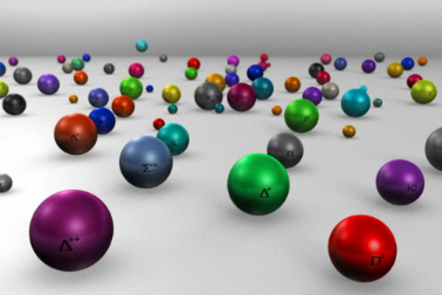 3-D graphic of particles illustrating the Standard Model