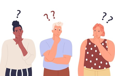 Illustration of people thinking with question marks above their heads