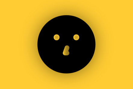 An icon of an abstract face on a yellow background