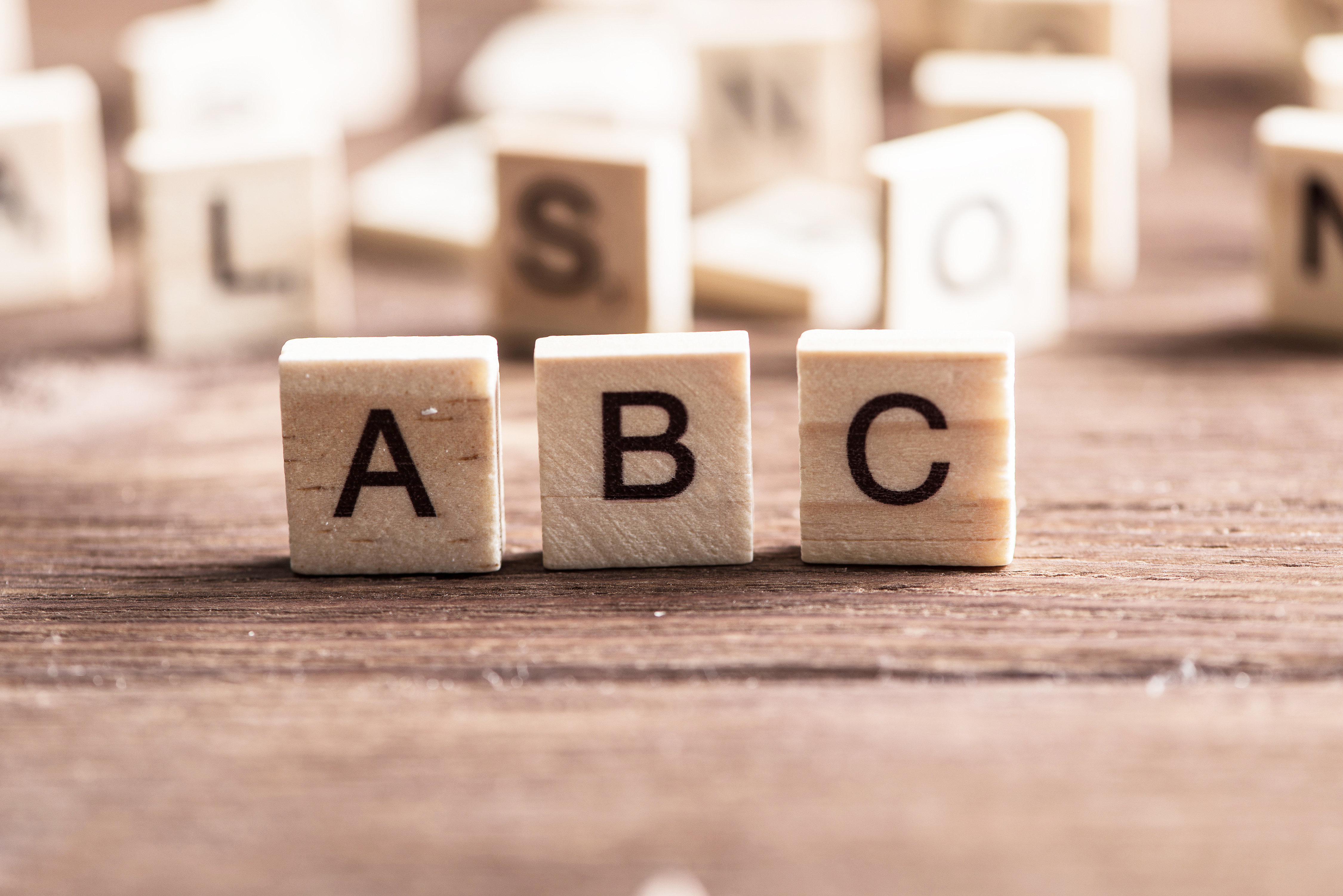Dices showing the letters A, B, C
