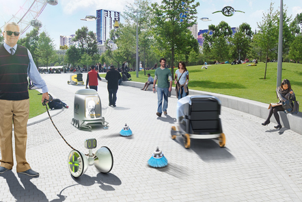 Decorative image, image of people and driverless vehicles, such as small delivery robots and airborne vehicles, set near the London eye. Driverless Futures exhibition, 2017 held at the London Transport Museum