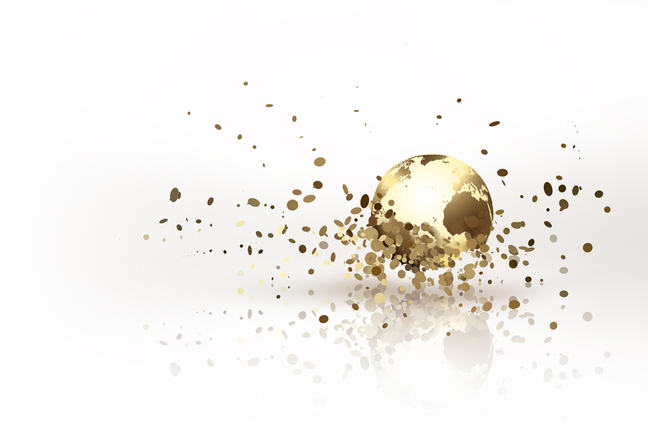 Image of a metallic, golden model of the world exploding into pieces.
