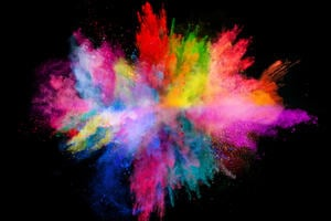 An explosion of coloured powder
