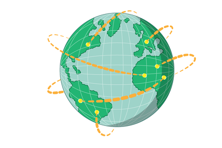 The globe, with connections made over long distances