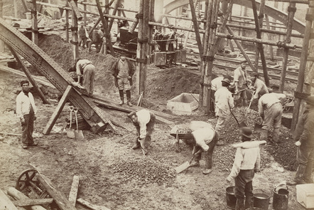 Sepia image of navvies at work building the Metropolitan Railway in London in 1861