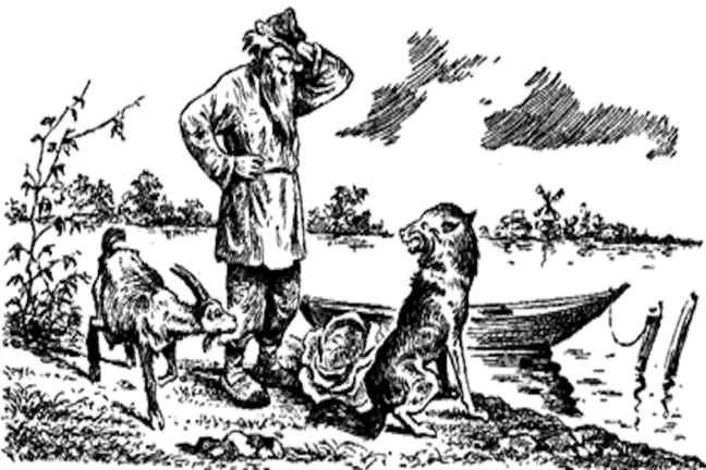 Drawing from book of farmer with wolf, goat and cabbage