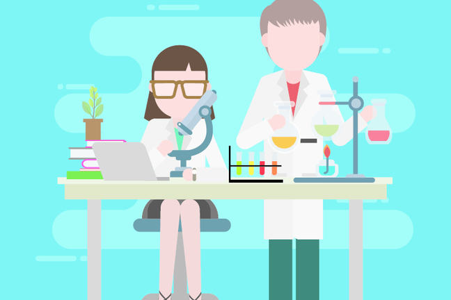 Graphic representation of teacher and student in a science research laboratory.