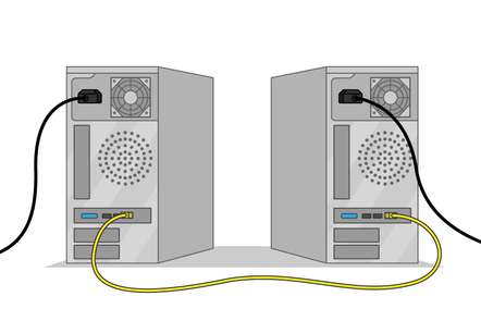 An illustrations of two computers connected together