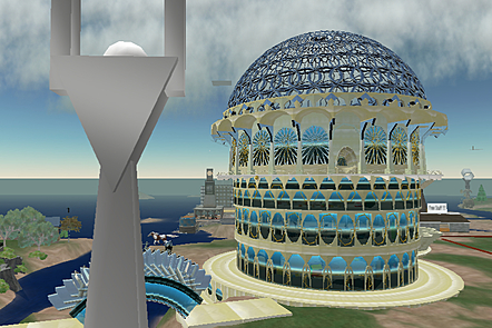 Blocky statue and elaborate domed building in a virtual world