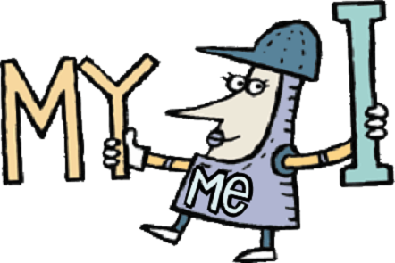 Illustration of a female medieval knight holding the letter I in one hand and the letter Y in the other hand. Text by the female knight MY ME and I