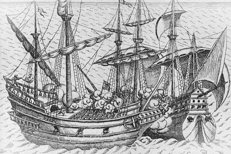 A 16th century engraving of two ships engaging in naval combat.