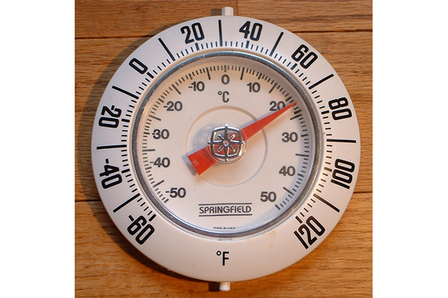 Thermometer with Celsius and Fahrenheit scales