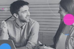 Man and woman talking.