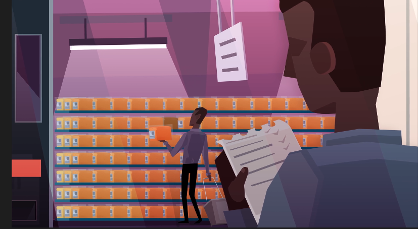 Graphic showing supermarket shelves full of baked goods, a shopper selecting one and a person in the foreground checking off a list.